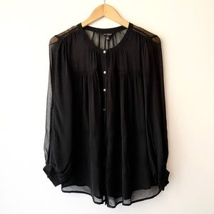 LUCKY BRAND Black Sheer Tiered Button Up Blouse S